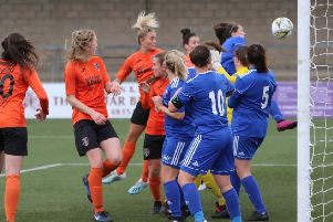 Sam Kerr scores for Glasgow City in their win at Forfar (pic:Tommy Hughes)
