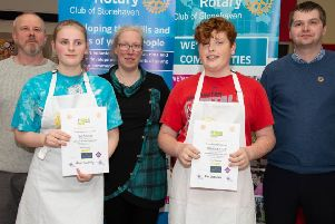 Young Chef winner Abbey Lindsay and runner-up, Ross Greenlees, with the three judges, Kevin Hermanns, Isla Duncan and Nick Robins