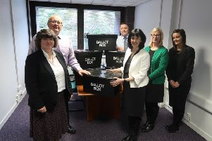 East Renfrewshire Council's Election Team with Returning Officer Lorraine McMillan