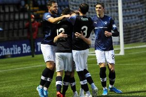 Raith Rovers celebrate Ross Matthews winner against Airdrie last Saturday, but the midfielder is one of six players missing for the trip to Falkirk - credit- Fife Photo Agency