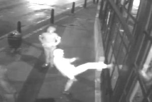 The vandals were caught on the restaurant's CCTV