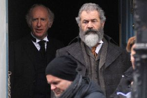 Mel Gibson during filming in Ireland for The Professor and the Madman.