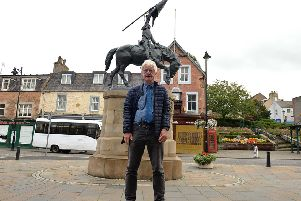 Ian Landles at the horse statue in Hawick.