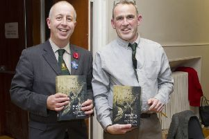 Derek Robertson at his book Launch with Duncan Taylor at Hawick's Townhall
