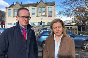 MP John Lamont and MSP Rachael Hamilton outside Hawick High School.