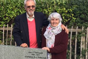 Memorial...Harry and Olenka at the tribute to Jan and Christina Tomczyk. Harry's parents' names were among the first to be included on the stone, which now bears 20 inscriptions with several more pending.