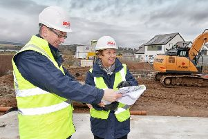 BHA's Development Manager Colin Young and Development Officer Kim Aitchison oversee the start of work on Todlaw Phase 4 which will provide 27 new affordable homes in Duns.
