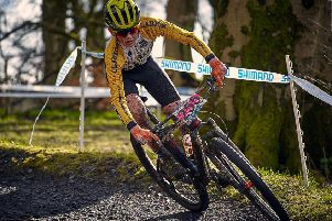 Sam Chisholm of West Lothian Clarion in action at the first round of the Scottish Cross Country Mountain Bike race series at the Cathkin Braes trails (pic by Peter Smith)