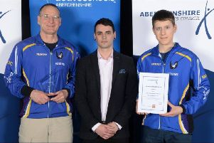 Maroc win Aberdeenshire Club of Year'Photo of Mar Orienteering Club's head coach Jon Musgrave and Matthew Gooch along with Award Sponsor Steve Greig of GPH Builders Merchants Ltd.  Photo taken by Trish Gayle.