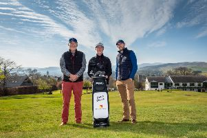 Peebles pro gofler Craig Howie gets financial backing from local company  Pictured is David Kilshaw, Craig Howie and Ross Kilshaw