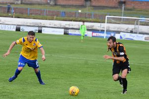 Danny Denholm posed a threat for the Fifers in attack. Pic by Kenny Mackay.