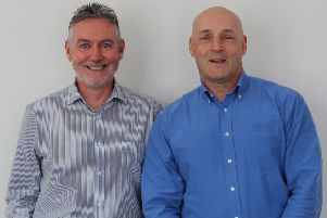 Outgoing Finance Director Douglas Drummond (Right) welcomes incoming Finance Director Ken Tudhope (Left).