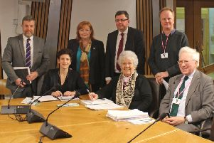 Representatives of Galloway National Park Association and local MSPs meet minister Mairi Gougeon, seated left.