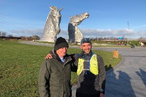 Rev Andrew Sarle (left), from Bainsford Parish Church, with Dr Mark Calder during his first pilgrimage, which took him to the Kelpies in Falkirk.