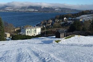 Port Bannatyne course under thick snow, in February.