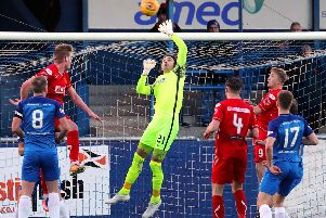 Stenny could not get past Montrose shotstopper Allan Fleming, seen here in previous action.