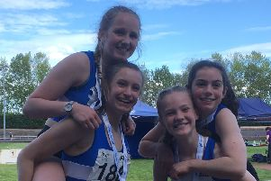 Banchory Stonehaven AC medallists at East Districts. L to R are Cara Davie, Abbie Crawford, Ella Creamer and Rosie Meyer.