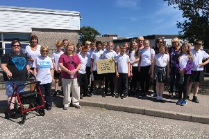 Pupils, parents and members of the community who took part in the Portlethen event