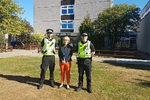 Head teacher Louise Moir with PCs Steve Inglis and Reegan Watson