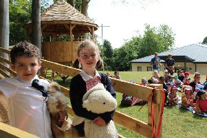 New J1 pupils Brodie Butler-Madden and Harriet Jackson open Lathallan School's new treehouse classroom