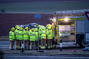 Emergency services at the scene of the A90 crash