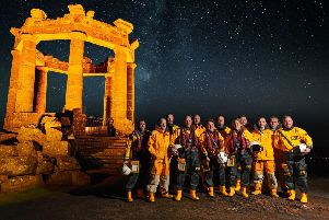 Stonehaven's lifeboat volunteers at the town's war memorial. Picture: Murray Aitken