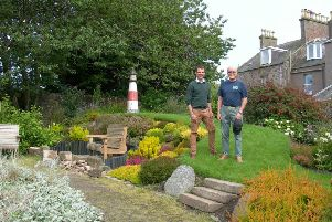 Andrew Bowie at the Inverbervie garden with Tom Campbell, of Brighter Bervie