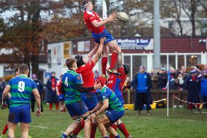 A Kirkcaldy line-out is safely gathered during the win over Hamilton on Saturday. Pic: Michael Booth