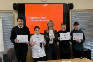 Some of the Mackie Academy pupils with Louise Shankley, from Macphie