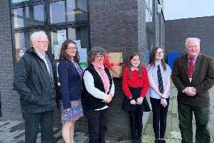 The debrillator was unveiled at a ceremony at Hillside School. Picture: Aberdeenshire Council