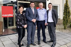 Mairi Gougeon, Jamie Hepburn, Alastair Macphie and Macphie operations director Mark Duncan