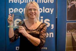 Tennis Aces head voach Allwyn Crawford with the Tennis Scotland 2016 Disability Programme of the Year Award