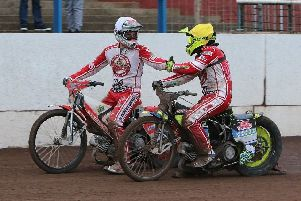 Glasgow Tigers riders Richie Worrall and Paul Starke in action at Workington (Pic courtesy of Ian Adam).