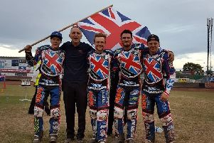 The victorious Team GB after their World Championship semi-final triumph. Left to right are Dan Bewley, Neil Vatcher, Connor Mountain, Ellis Perks and Nathan Greaves (photo courtesy of George Mutch)