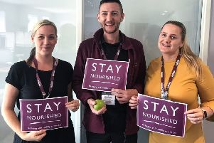Pictured from left, Angelica Fraser, Joe Mullaney, and Megan Doris of Home Instead in Milngavie, who have launched a Stay Nourished campaign to encourage older people to eat healthily.