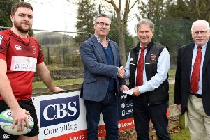 Eddie Curran (second left) of CBS Consulting with Linlithgow club captain Euan Mochrie, Ken Richardson and Gordon Dixon.