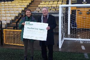 Michelle Campbell, Regional Fundraising Manger, Macmillan Cancer Support along with Ken Henderson, Commercial Director of East Fife FC