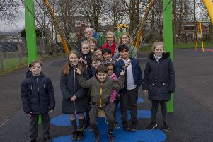 Cllr Susan Murray was joined by children from nearby Lenzie Meadow Primary School at the opening of the park.