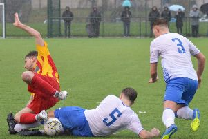 Benburb got the win over Rossvale in difficult conditions at Huntershill (pic by HT Photography/@dibsy_)