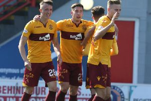 The celebrations after David Turnbull (1st left) had put Motherwell ahead at Hamilton Accies (Pic by Ian McFadyen)