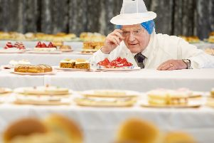 ***FREE TO USE****'Head Judge Robert Ross checks the cakes.'Judging day for the Scottish Baker of the Year 2019/20 competition in Dunfermline. 8000 customer votes and in excess of 30,000 individual products votes, for goods baked by the best bakers in the country. April 17 2019