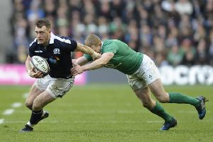 Stuart Hogg in Six Nations action for Scotland against Ireland in 2017 (picture by Neil Hanna Photography).