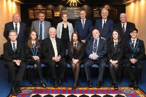 Photo Jamie Forbes 30.5.19  Bishopbriggs. Lodge Cadder Freestone 1584 presenting certificates and cheques to Bishopbriggs Academy prize winners and lunch. Back left to right John Semple - Cadder Freestone, Alex McMillan Cadder Freestone, Claire Kerr S6 Deputy Head - Bishopbrggs Academy, Gordon Moulsdale- Head Teacher Bishopbriggs Academy, Walter Bell - Cadder Freestone, George McLelland - Cadder Freestone. Front left to right Xavier Drayton-Harrold -age16, Kirsty Boyd age  17, Jim Peddie - Provincial Grand Master of Glasgow, Aimie Sutherland age 16, Jim Robinson - Right Worshipful Master of Cadder Freestone 1584, Ellie Stewart age 16, Jordan Campbell age 17.