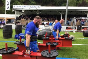 Scott Milne in action in the 320kg Frame Carry event at Scotland's Strongest Man