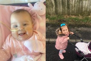 Carly-Rose Walker as a baby and now aged five.