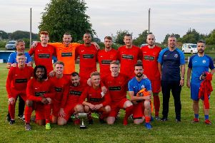 Carluke Rovers players and management with Clydesdale Cup after Monday nights victory over local rivals Lanark United (Pic by Kevin Ramage)