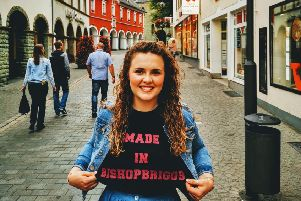 TAKE US TO THE BRIGGS: Katee was flying the flag for Bishopbriggs in Germany last week