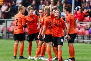 Kirsty Howat celebrates after scoring against Hibernian (pic: Tommy Hughes)