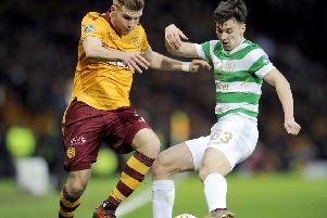 Kieran Tierney in action for Celtic in the 2017 Betfred Cup Final against Motherwell (pic: Michael Gillen)