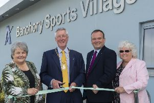 Left to right - chair of Aberdeenshire Council's communities committee Anne Stirling, with Aberdeenshire Provost Bill Howatson, director of education Laurence Findlay and vice-chair of the Live Life Aberdeenshire sub-committee, Anne Simpson. Picture: Aberdeenshire Council